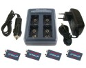 iPowerUS Deluxe kit: Charger + 4xBatteries 9V - 800mAh